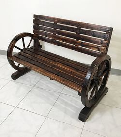 """New in box $130 Large 50"""" Wooden Wagon Bench Rustic Wheel for Patio Garden Outdoor 50x23x34"""" for Sale in El Monte,  CA"""