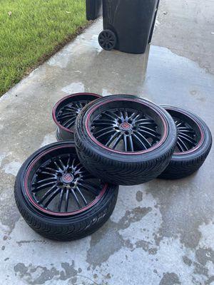 """18"""" Black rims wheels red pinstripe Honda 5 spoke 225/18 for Sale in Corona, CA"""
