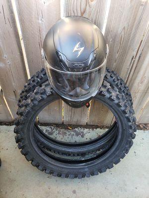 Motorcycle tires end helmet for Sale in Ontario, CA