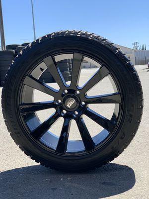 "22"" all gloss black rims with Bridgestone AT tires 2854522 for sale. 6 lug Escalade avalanche GMC Yukon Sierra Denali for Sale in Modesto, CA"
