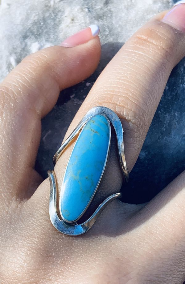 Nickel Silver Turquoise Stone Ring