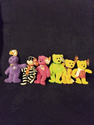 Set of 6 - 2004 McDonald's Happy Meal Ty Teenie Beanies 25 Years (Burger the 🐻, 🐦 the 🐻, 🍔 the 🐻, Grimace the 🐻, 🍟 the 🐻, Happy Meal the 🐻) for Sale in Belleville, MI
