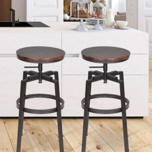 24-28.9 in. Walnut Color Industrial Style Bar Stool (Set of 2) for Sale in Ontario, CA