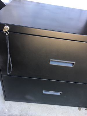 File cabinet (Legal double)Black /key for Sale in Highlands Ranch, CO
