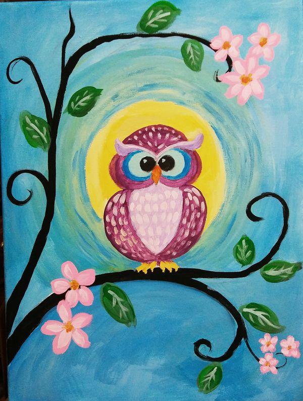 Hand painted abstract owl, nursery, childrens decor art 16x12