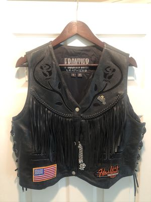 Ladies genuine leather motorcycle vest for Sale in Mission Viejo, CA