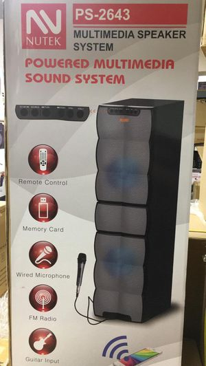 Bluetooth speaker/3,000 watt/fm radio/aux input/USB port and SD slot/includes microphone for karaoke/new in box for Sale in Moreno Valley, CA