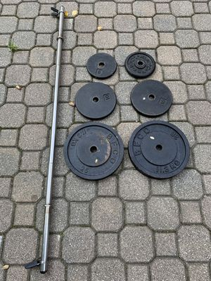 Standard One Inch Straight Barbell weight set - 80lb plates for Sale in Barrington, IL