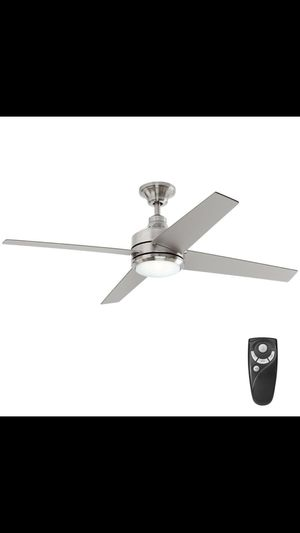 Home Decorators Collection Mercer 52 in. LED Indoor Brushed Nickel Ceiling Fan with Light Kit and Remote Control ($119) for Sale in Dallas, TX