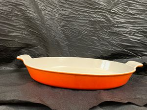Le Creuset #36 Oval Enameled Cast Iron Au Gratin Roasting Pan for Sale in Olympia, WA