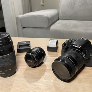 Canon Rebel T3i / 600D - 2 Additional Lens - 2 Extra Batteries for Sale in San Jose, CA