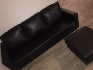 Used like new leather couch & Ottoman for Sale in Phoenix, AZ