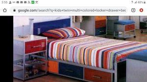 Twin bed/toy/storage multicolored locker style drawers kids for Sale in Phoenix, AZ