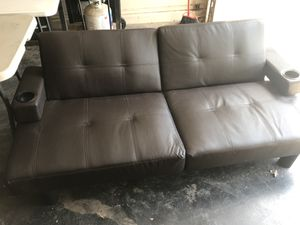 Espresso Leather Futon for Sale in Lubbock, TX