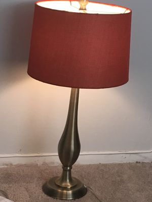 Lamp w/ Orange Shade Brass Finish for Sale in Owings Mills, MD
