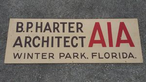 Vintage Winter Park Architecture Firm Company Sign B.P. Harter Paint on Plywood **25.00 Firm** for Sale in Orlando, FL