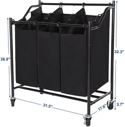 Rolling Laundry Cart Sorter, with 3 Removable Bags, Casters and Brakes, Black for Sale in Ontario,  CA