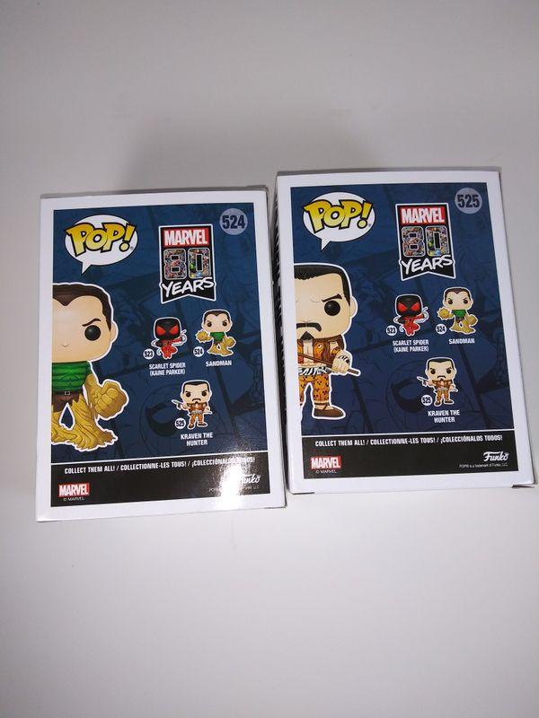 Funko POP! 524 Sandman + 525 Kraven the Hunter Walgreens Exclusive Marvel Lot