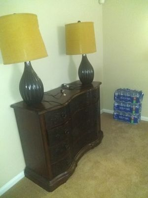 Solid Mahogany wood chest and end tables with lamps for Sale in Charlotte, NC