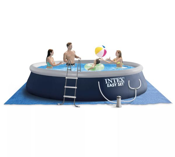 "Intex 15' x 42"" easyset pool set with ladder, pump and cover"