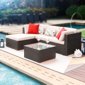 Brand New 5 Pieces Patio Furniture Sets All-Weather Outdoor Sectional Sofa Manual Weaving Wicker Rattan Patio Conversation Set with Cushion and Glass for Sale in Tucker, GA