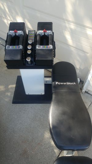 Powerblock Gym: 90 lbs, stand, bench for Sale in Elk Grove, CA