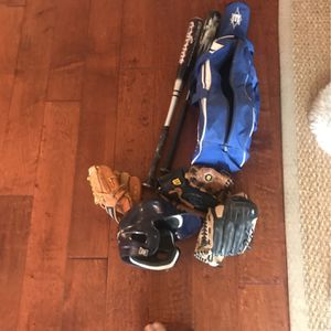 2 Baseball Bats, 3 Gloves, Helmet And A Bag for Sale in San Diego, CA