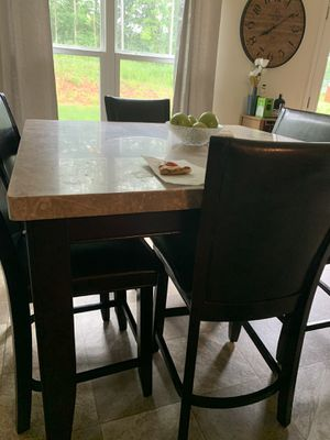 Marble Kitchen Table 4 chairs and a bench for Sale in Hampton, GA