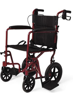 Medline Lightweight Transport Wheelchair with Handbrakes, Folding Transport Chair for Adults has 12 inch Wheels, Red for Sale in Las Vegas, NV