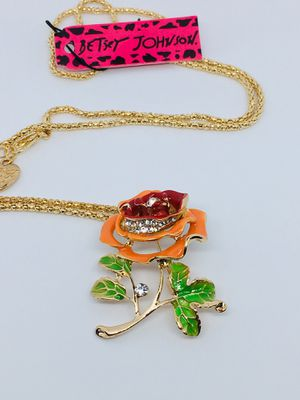 Betsey Johnson Rose Crystal Pendant/Necklace for Sale in Clermont, FL