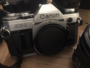 Canon AE1 classic vintage slr film camera body only NO SQUEAK and separate price for a 50mm F1.8 lens for Sale in Whittier, CA