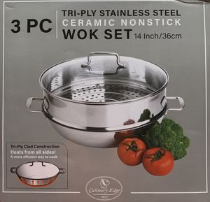 Try-ply Stainless Steal Ceramic Nonstick Wok Set for Sale in Queens, NY