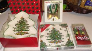 Spode Hot air Balloon Christmas Ornament with 2 spreaders, tree tray, and New napkins. for Sale in Westerville, OH