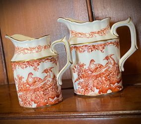 SET 2 Pitchers ROYAL CROWN DERBY Original Vintage Antique Made in England/English Fine Bone China/Porcelain Europe/European Rust Color w/ Birds for Sale in San Diego,  CA