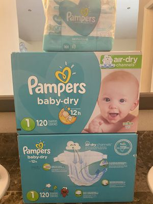 pampers size 1 diapers and wipes bundle for Sale in Fontana, CA
