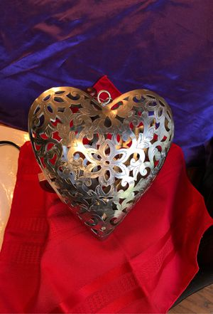 "Open filigree Hanging Heart candle holder 9"" for Sale in Lumberton, NJ"