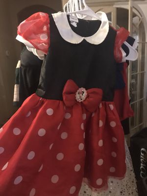 Halloween Costume Disney Minnie Mouse Beautiful Red with white polka dot Satin Girls dress up size 4 5 6 7 kids see other Costumes too witch fairy ba for Sale in Glendale, AZ