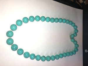"""Vintage Teal Color Amber Bead Necklace From Estate 24"""" Weighs 58.3 Grams In Vg Condition for Sale in Sicklerville, NJ"""