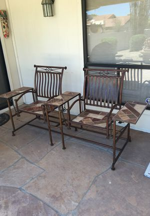 Wrought Iron and stone inlay porch swing for Sale in Chandler, AZ