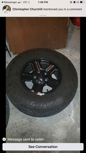5 Jeep Wrangler black rims And tires for Sale in Middleborough, MA