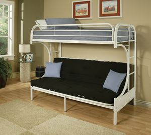 White Metal Futon Over Twin Bunk Bed for Sale in Salem, OR