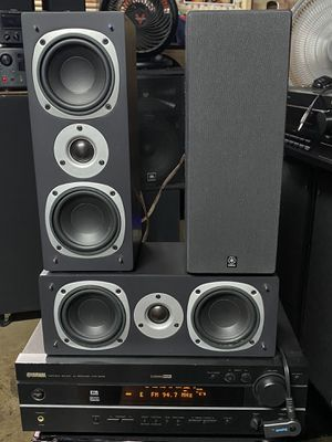 YAMAHA STREAMING STEREO MUSIC SURROUND SYSTEM WITH BLUETOOTH AND 3 THREE WAY BOOKSHELF SPEAKERS 🎵!! for Sale in Covina, CA