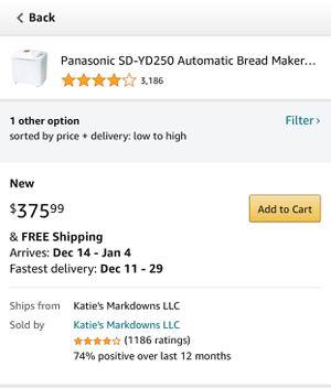 Panasonic bread maker for Sale in Riverside, CA