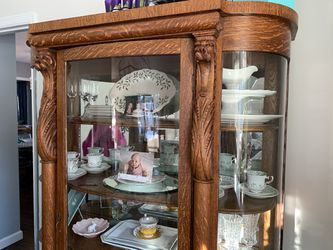 Handcarved Oak Antique Dining Set With Rounded Glass China Cabinet From 1800s for Sale in Ramsey,  NJ
