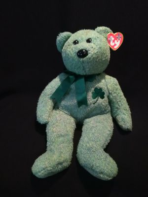 Mint Condition Ty Beanie Babies Beanie Buddies Large Size Shamrock The Green Tie Dye Irish Bear Beautiful Green Ribbon And Shamrock for Sale in Portland, OR