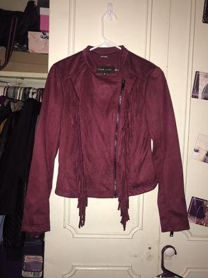 Burgundy Suede Black Rivet Fringe Jacket for Sale in Warrensville Heights, OH