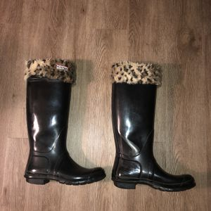 Womens Tall Hunter Boots With Cheetah Fur Size 9 for Sale in Syosset, NY