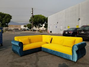 NEW 7X9FT ROYALE MARIGOLD FABRIC COMBO SECTIONAL COUCHES for Sale in Long Beach, CA