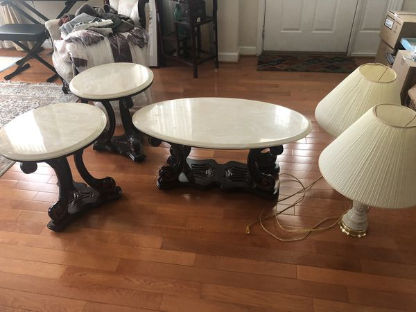Coffee table , 2 side tables & 2 lamps