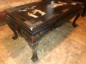 Antique Asian black lacquer handmade coffee table with folding legs Jade Pearl inlay missing the glass asking 650 or best offer for Sale in Houston, TX